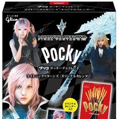Изображение Лайтнинг на коробке шоколадных палочек Glico Pocky.