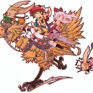Montblanc with Luso, Adelle, and Hurdy riding a chocobo, used on the <i><a href=
