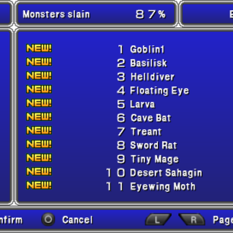 The Bestiary menu in the <i>Complete Collection</i> for PSP.