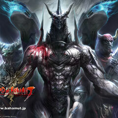 Promotional artwork featuring Bahamut, Ifrit, and Gilgamesh.