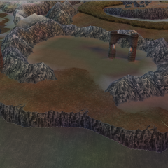 The Ryukahn Desert and its namesake Gateway in World B in <i>Dissidia 012 Final Fantasy</i>.