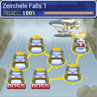 World map of Zeirchele Falls in <i>Final Fantasy Airborne Brigade</i>.