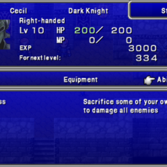 Third screen in the Status menu in the PSP version.