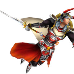The Warrior of Light's alt outfit EX Mode in <i>Dissidia</i>, based on an alternate Amano art.