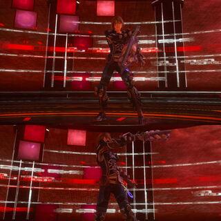 Noel's victory pose.