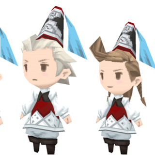 Party members from <i>The 4 Heroes of Light</i> as Merchants.