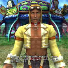 Rin asking Yuna to help him solve a case on Mi'ihen Highroad in <i>Final Fantasy X-2</i>.