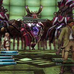 The battle against Nemesis, similar to Proto fal'Cie <a href=