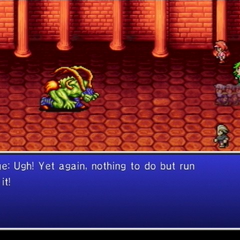 Edge's party forced to flee from a battle with Ifrit