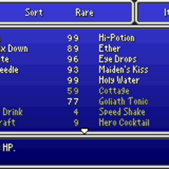 The Item menu in the GBA version.