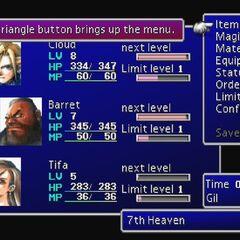 The menu screen from <i>Final Fantasy VII</i>.
