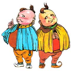 Nintendo Power artwork of Palom and Porom by Katsuya Terada.