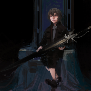 Artwork of young Noctis with the sword.