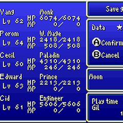 Save menu in the GBA version.