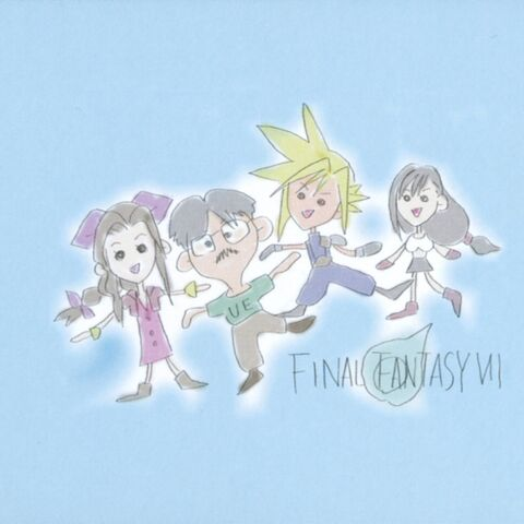 Promotional artwork of composer Nobuo Uematsu with Aerith, Cloud and Tifa.
