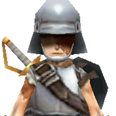 Model of Blank in Knight attire.