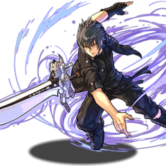 Artwork of Noctis using the Engine Blade for <i>Puzzle &amp; Dragons</i>.