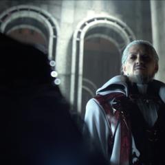 Early draft of Iedolas speaking with Ardyn Izunia (E3 2013 trailer).