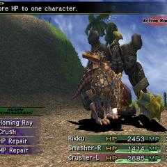 Rikku in Machina Maw attacking in <i><a href=