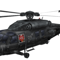 Render of a transport helicopter in <i>Crisis Core</i>.