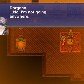 Dorgann, Stella, and Bartz in their house in the town of <a href=