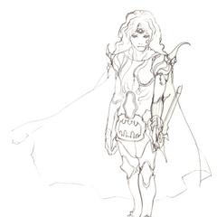 Akira Oguro concept sketch of Paladin Cecil (DS).
