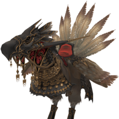 Render of an armored black chocobo in <i><a href=