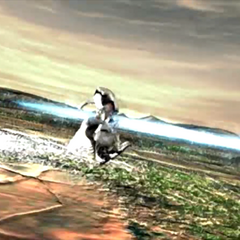Diamond Weapon being hit by Sister Ray blast FMV.