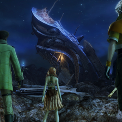 Vanille, Hope, and Sazh find an old Pulsian ship.