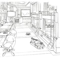 Dorm room concept art.