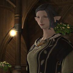 Miounne in the inn room.