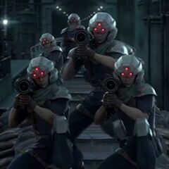 Simulated Shinra infantrymen in <i>Crisis Core</i>.