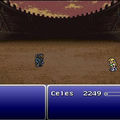 Celes fighting Shadow (SNES).