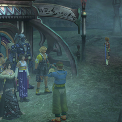 The party outside the Travel Agency in <i>Final Fantasy X</i>.