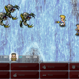 Sabin and Cyan battle enemies while falling (iOS/Android/PC).