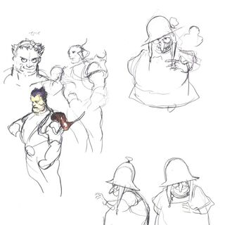 Наброски Ёситаки Амано,изображающие Уне и неизвестного персонажа.