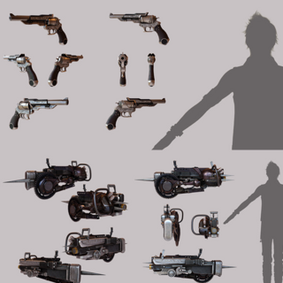 Prompto's firearms and machinery.