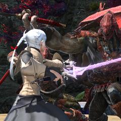 Alisaie battling a Kojin.