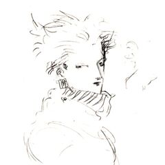 Yoshitaka Amano sketch of Cloud for <i>Final Fantasy VII</i>.