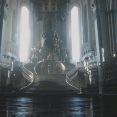 The throne room in the <i>Final Fantasy XV</i> opening.