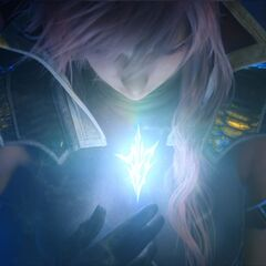 The symbol of the savior on Lightning's chest.