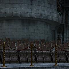 Public seats at night.