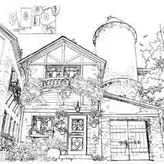 Concept art of Ellone's parents' house.