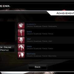 The Achievements menu.
