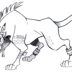 Red XIII concept art.