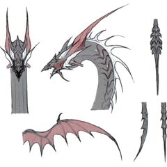 Artwork of Leviathan's head, fins and tail.