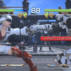 Livia using Hyper Counter against Yda's Fists of Fire.