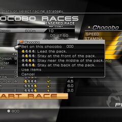 Chocobo races menu.