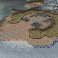 The ruins of Cornelia in World B in <i>Dissidia 012 Final Fantasy</i>.