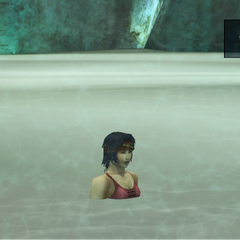 Elma in the hot springs at <a href=